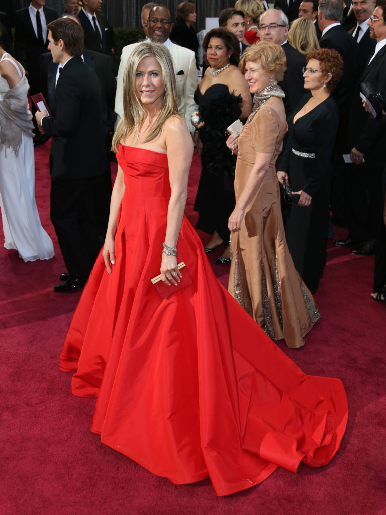 Jennifer Aniston Red Gown Photos