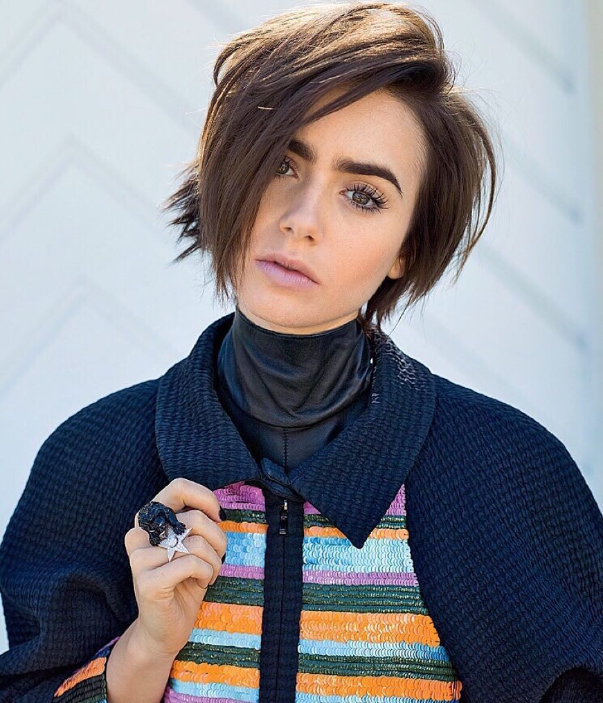 Lily Collins Short Hair Pictures