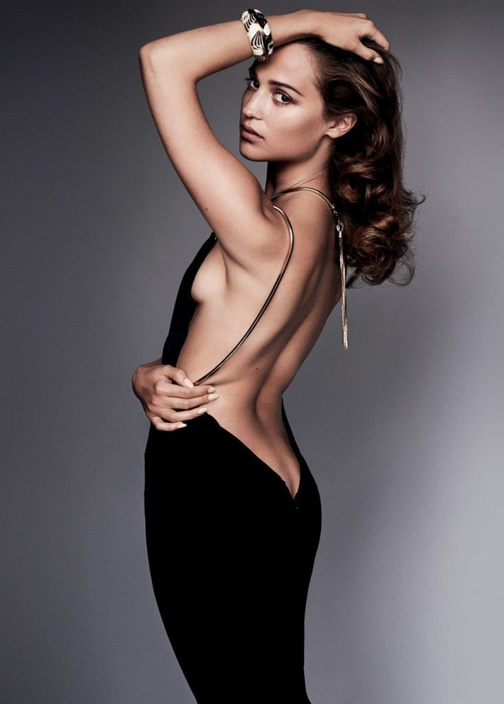 Alicia Vikander Braless Backside Pics