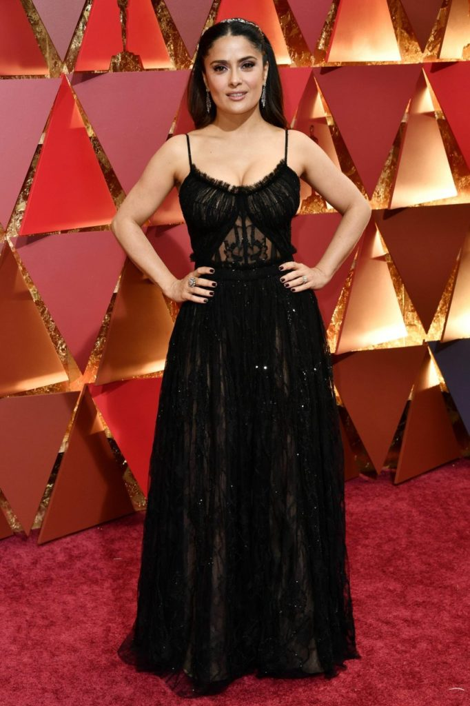 Salma Hayek In Black Gown Pics