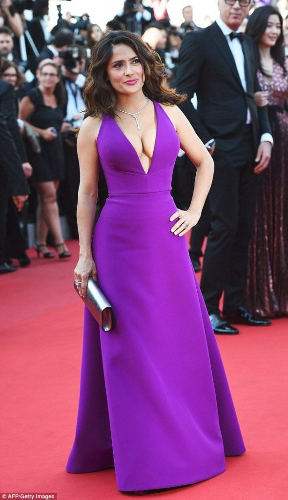 Salma Hayek In Purple Dress Pictures